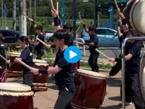 リニューアルオープンイベントで和太鼓部が出張演奏!